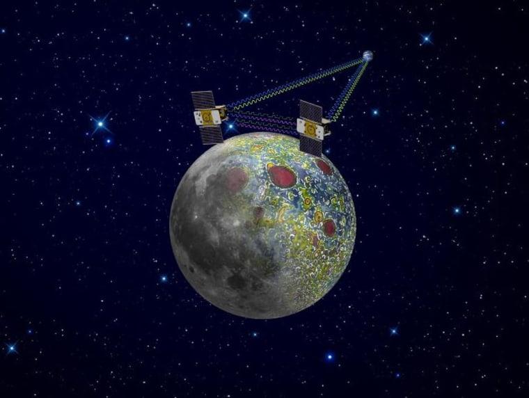 Artist rendering of moon with GRAIL orbiters