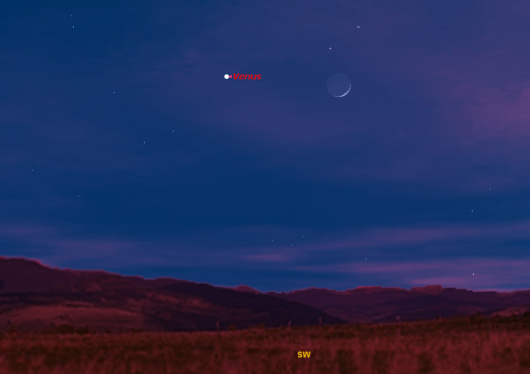 This sky map shows how the planet Venus and the moon will appear in the southwestern sky at 5 p.m. local time on Dec. 26.