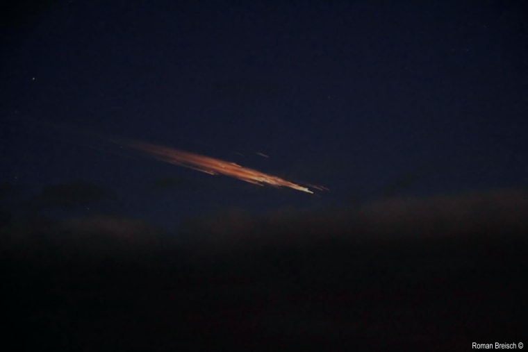 Astrophotographer Roman Breisch snapped this photo of a fireball created by a re-entering Russian rocket stage over Germany on Dec. 24. The rocket debris was part of a Soyuz rocket that successfully launched a new crew to the International Space Station on Dec. 21.