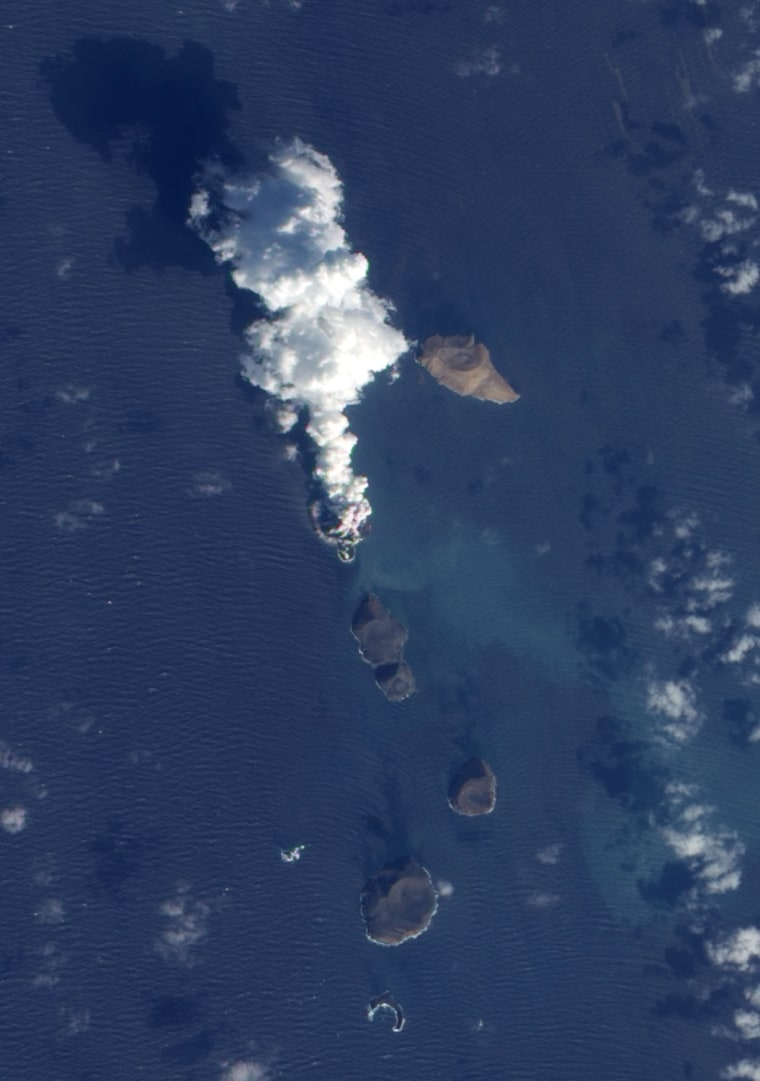 Say hello to the Red Sea's new inhabitant: an island that has emerged in the Zubair Archipelago. The island is the source of the huge volcanic plume you see here in a picture captured by a NASA satellite.