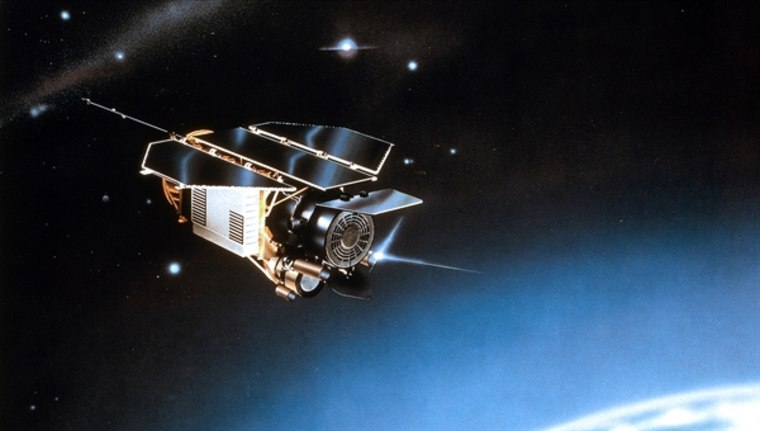 Artist's impression of the ROSAT satellite in space.
