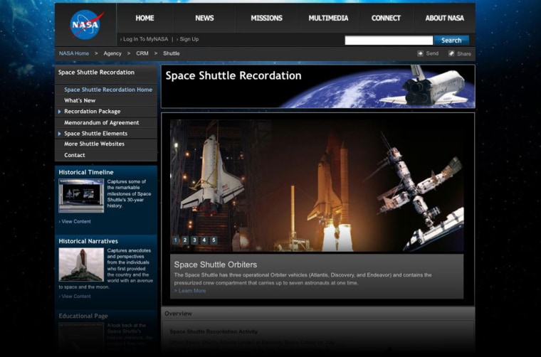 NASA's Space Shuttle Recordation website first premiered online in December 2011 and will be completed in 2012.