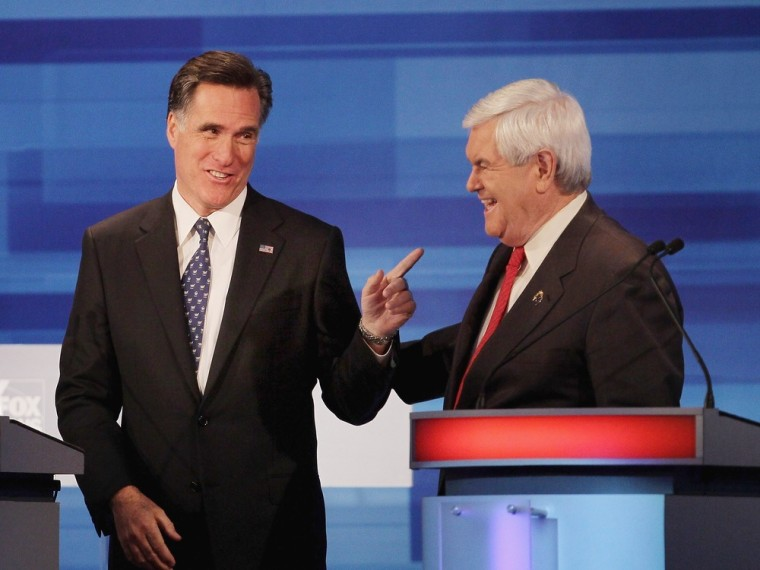 Image: Mitt Romney at the Republican Presidential Debate in Sioux City, Iowa.