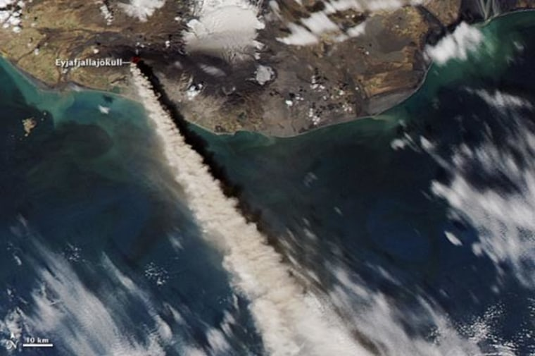 The plume of ash and steam from the Eyjafjallajokull volcano reached 17,000 to 20,000 feet (5 to 6 kilometers) into the atmosphere on May 10, 2010, when the Moderate Resolution Imaging Spectroradiometer (MODIS) on NASA's Aqua satellite captured this image.