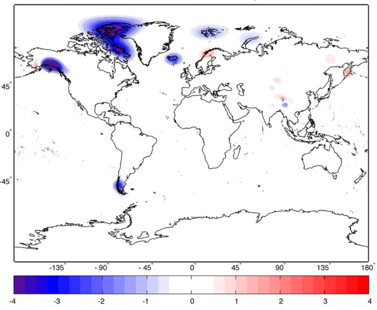 The average yearly change in mass, in centimeters of water, during 2003-2010, for all the world's glaciers and ice caps (excluding Greenland and Antarctica). Glaciated regions with large ice loss rates stand out clearly.