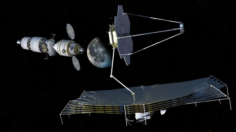 An artist's view of using the Orion Multi-Purpose Crew Vehicle as an early servicing system for a future observatory stationed at an Earth-moon L-point, in advance of having a habitation system at that location.