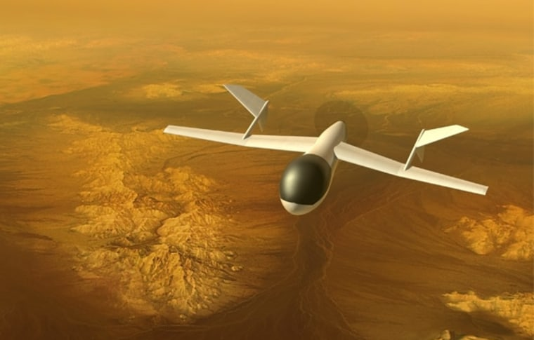 An artist's illustration of the AVIATR drone flying overthe Saturn moon ofTitan.