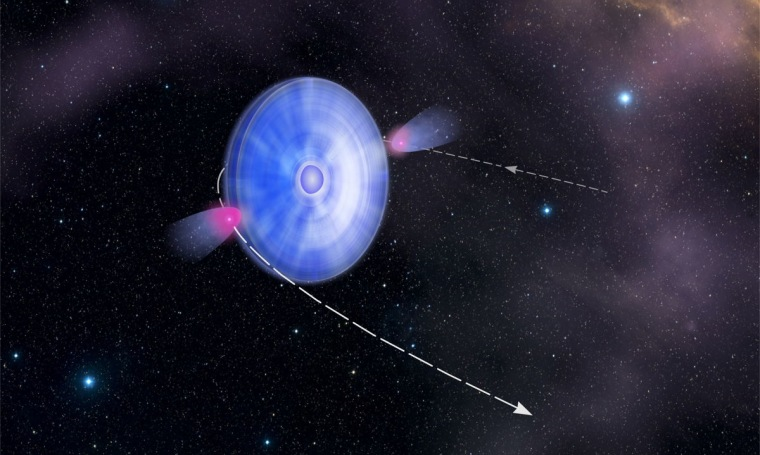 As a special pulsing star passes through the particles streaming from its companion, it emits high-energy gamma rays.