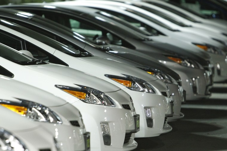Image: Toyota Prius are seen on display at a dealership in Pasadena