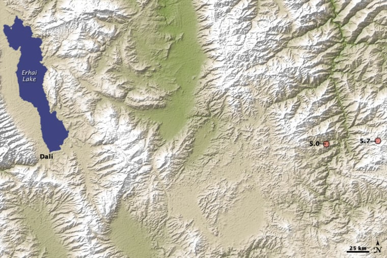 A map of where a magnitude-5.7 earthquake hit in Yunnan Province in 2009. Like all of southern China, the region is prone to earthquakes because of the ongoing collision between the Indian plate and the Asian plate.
