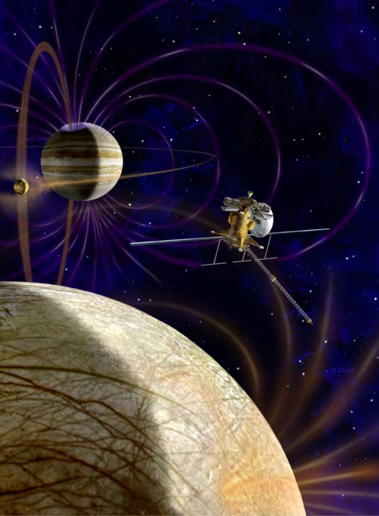 This artist's concept shows NASA's Jupiter Europa Orbiter, which would carry a complement of 11 instruments to explore Europa and the Jupiter system. The spacecraft is part of the joint NASA-ESA Europa Jupiter System Mission.