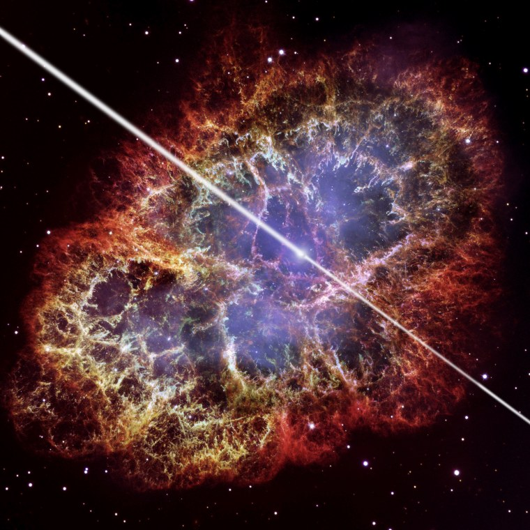 An artist's conception of the pulsar at the center of the Crab Nebula, with a Hubble Space Telescope photo of the nebula in the background. Researchers using the VERITAS telescope array have discovered pulses of high-energy gamma rays coming from this object.