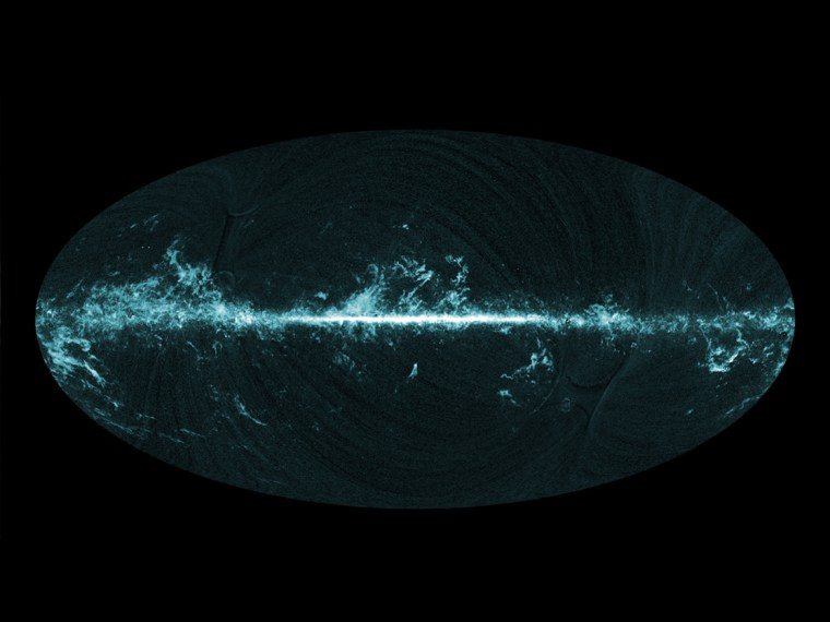 This all-sky image shows the distribution of carbon monoxide, a molecule used by astronomers to trace molecular clouds across the sky, as seen by Planck. The image was releasedon Monday.