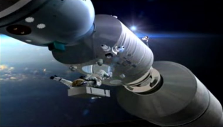 This image depicts a spacewalk from a Shenzhou spacecraft docked to China's Tiangong 1 space laboratory module.