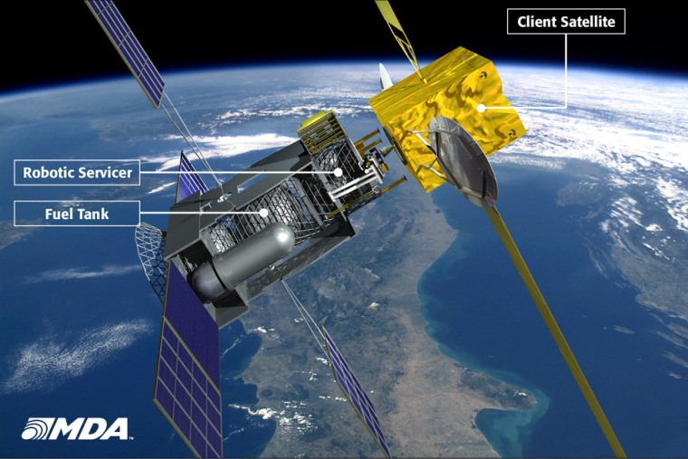An artist's conception of how the SIS mobile space gas station will refuel satellites in orbit.