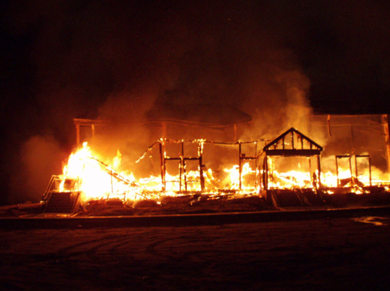 Macedonia Church of God in Christ in Springfield, Massachusetts on fire during the early morning of November 5, 2008.