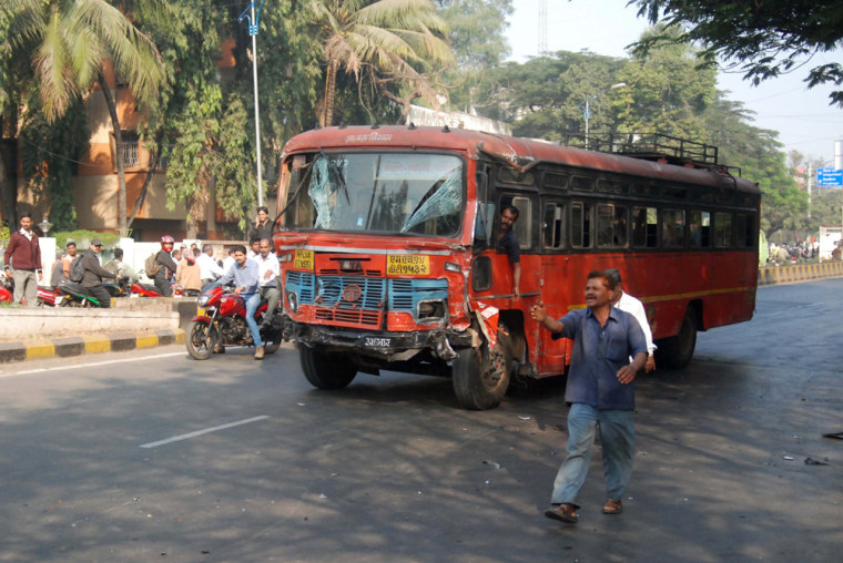 A man drives a bus involved in an accide