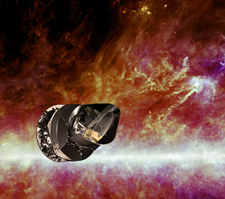 An artist's impression of the European Space Agency's Planck spacecraft. Planck's main goal was to study the Cosmic Microwave Background — the relic radiation left over from the Big Bang.