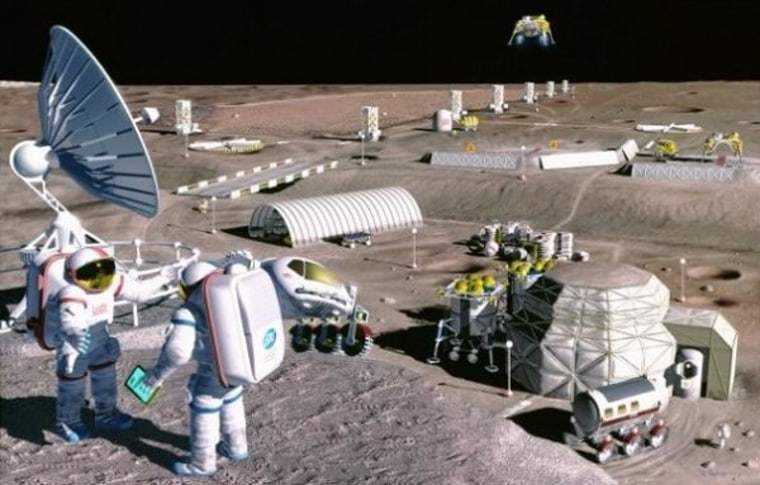 This is an artist's concept of a possible colony that could be built on the moon.