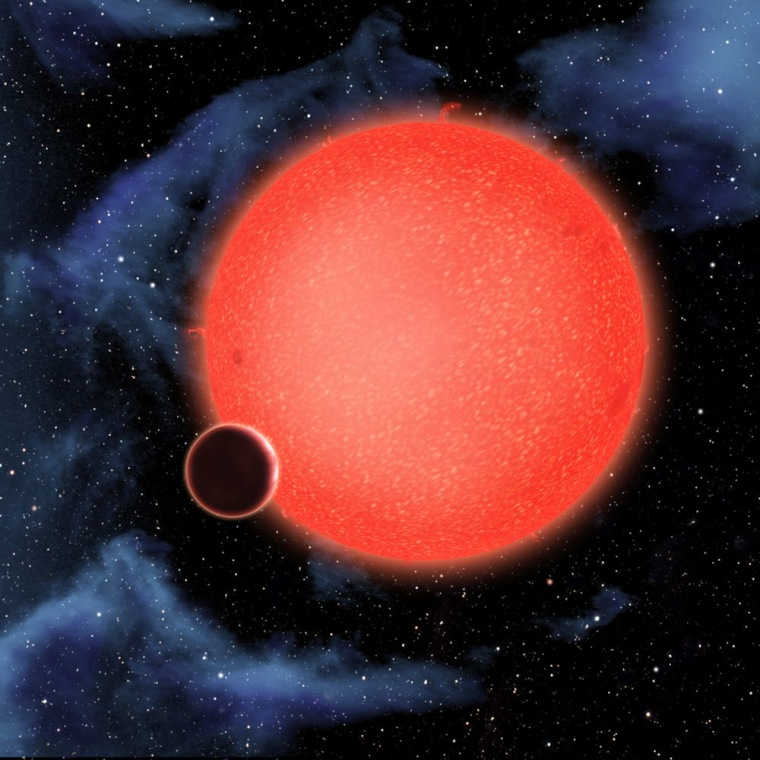 GJ1214b, shown in this artist's view, is a super-Earth orbiting a red dwarf star 40 light-years from Earth. New observations from the Hubble Space Telescope show that it is a waterworld enshrouded by a thick, steamy atmosphere. GJ 1214b represents a new type of planet, like nothing seen in the solar system or any other planetary system currently known.