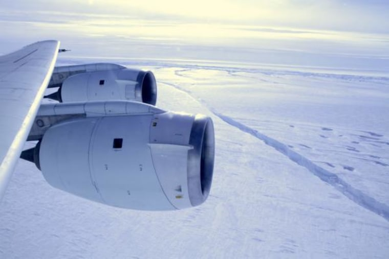 In October 2011, NASA's Operation IceBridge discovered a major rift in the Pine Island Glacier ice shelf in West Antarctica.