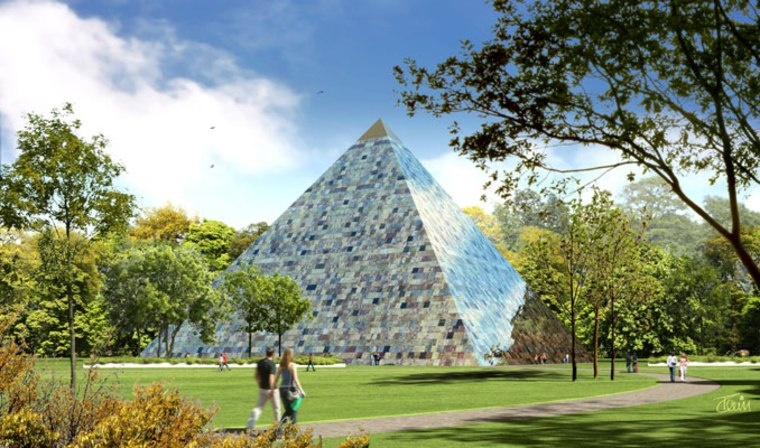 An artist's rendering of the Earth Pyramid. The Earth Pyramid Project is raising funds to erect a pyramidal structure in an as-yet-undecided location, built of stones quarried all around the world. It will contain a time capsule, to be opened 1,000 years from now.
