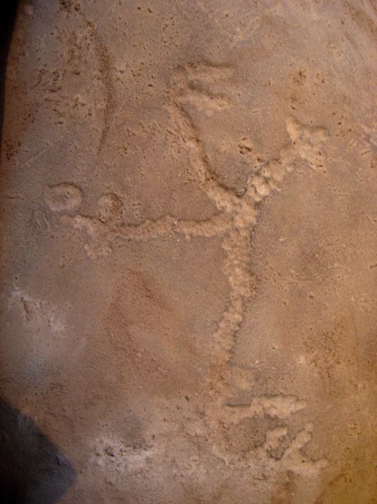 """The researchers suspect the petroglyph of the man with the oversized phallus, which they have dubbed """"the little horny man,"""" was likely used in fertility rituals."""