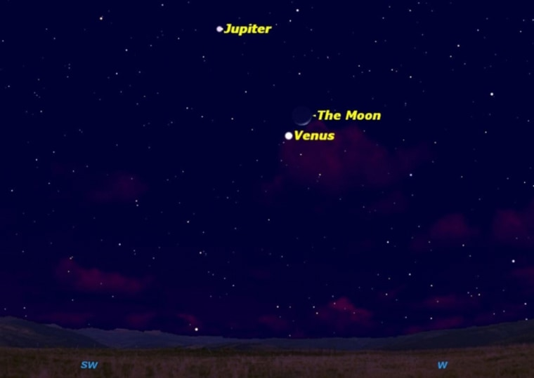 Venus, Jupiter, and the moon form a skywatching treat in the evening sky on for the week of Feb. 22, with a triple conjunction on Saturday and Sunday.