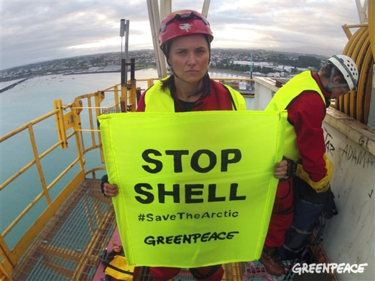 Image: Greenpeace handout photo of Lucy Lawless