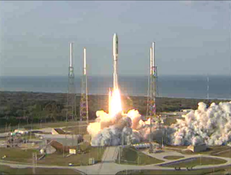 This still photo from a United Launch Alliance broadcast shows an Atlas 5 rocket launching into space with the U.S. Navy's MUOS-1 communications satellite on Friday. Liftoff occured at 5:15 p.m. ET fromCape Canaveral Air Force Station.