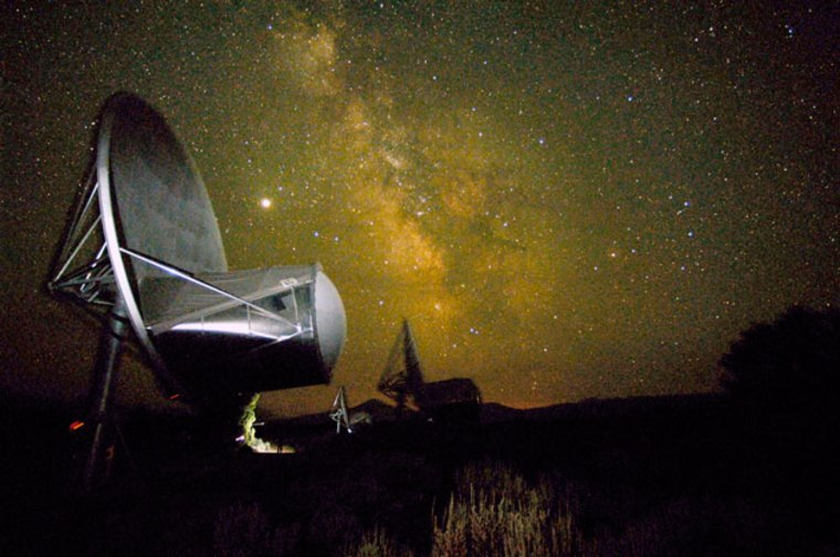 The Allen Telescope Arrayin northern California is looking for radio emissions that exhibit a pattern indicating it was artificially produced by intelligent beings.