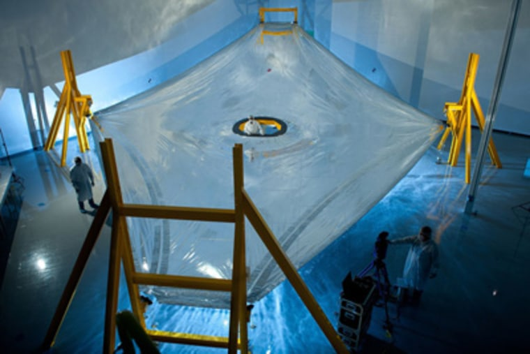 A full-scale JWST sunshield membrane deployed on the membrane test fixture at Mantech, Hunstville. The JWST sunshield comprises five of these layers, each of which has to be precisely spaced with respect to the next.