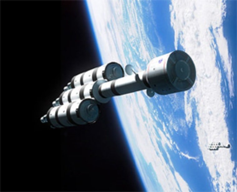An artist's impression of the Project Bifrost fission rocket leaving Earth orbit for an interstellar mission.
