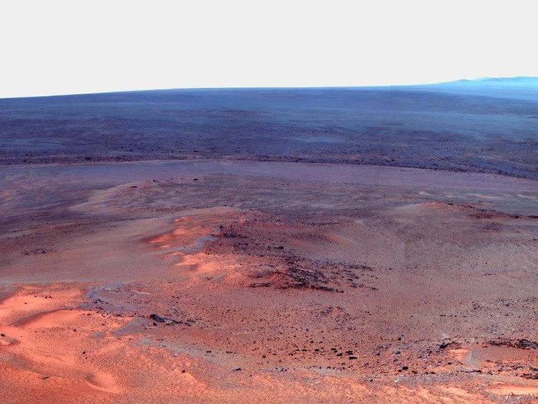 A mosaic of images showing the view northward and northeastward from Greeley Haven, the overwintering site for NASA's Opportunity Mars rover. Opportunity took the photos with its panoramic camera in mid-January 2012.