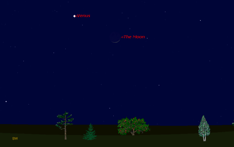 This sky map shows how the planet Venus will appear near the moon on Wednesday night at 6 p.m. to observers at mid-northern latitudes.