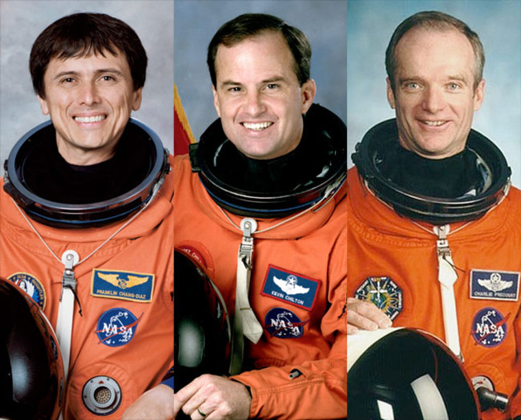 2012 Astronaut Hall of Fame inductees, from left to right: Franklin Chang-Diaz, Kevin Chilton and Charles Precourt.