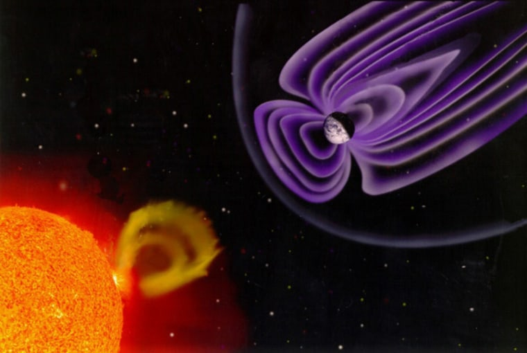 Solar wind presses against Earth's magnetic field, giving it a bow shock much like that of a boat in the water. During heavy solar ejections, pressure can shove the magnetosphere into the Van Allen radiation belts, releasing dangerously charged electrons into space.