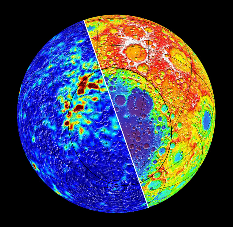 This image released Thursday shows the biggest group of odd magnetic anomalies on the moon near the northern rim of the largest lunar crater. The anomalies, left, stem from highly magnetic material likely from an asteroid that created the 2,000-kilometer-wide basin, scientists say.