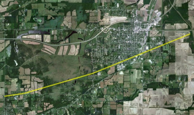 This image shows the path of the tornado that touched down in Harrisburg, Ill.