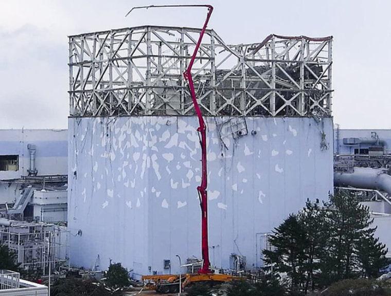 A water cooling pump at the damaged Fukushima Daiichi nuclear power plant.