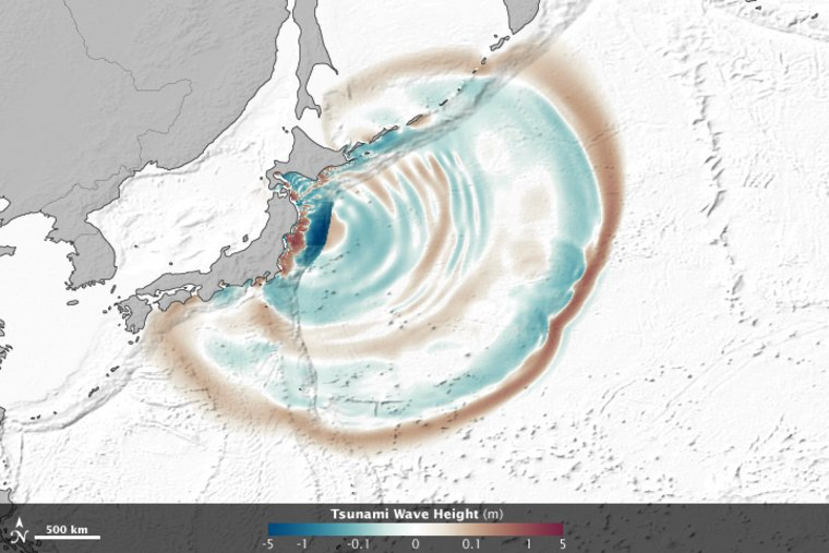 An image from an animation using satellite observations of the March 11 tsunami that shows how the waves of the tsunami were influenced by seafloor features. Wave peaks appear in red-brown, depressions in blue-green and ocean floor topography is outlined in gray.
