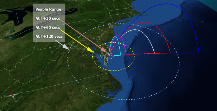 This map of the United States' mid-Atlantic region shows the flight profile of NASA's five ATREX rockets, as well as the projected area where they may be visible after launch on Wednesday. The rockets' chemical tracers, meanwhile, should be visible from South Carolina through much of New England.