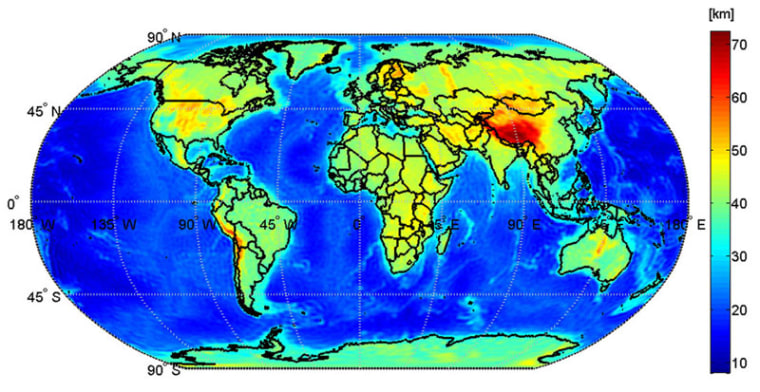 This map shows the global Mohorovicic discontinuity – known as Moho – based on data from the GOCE satellite.