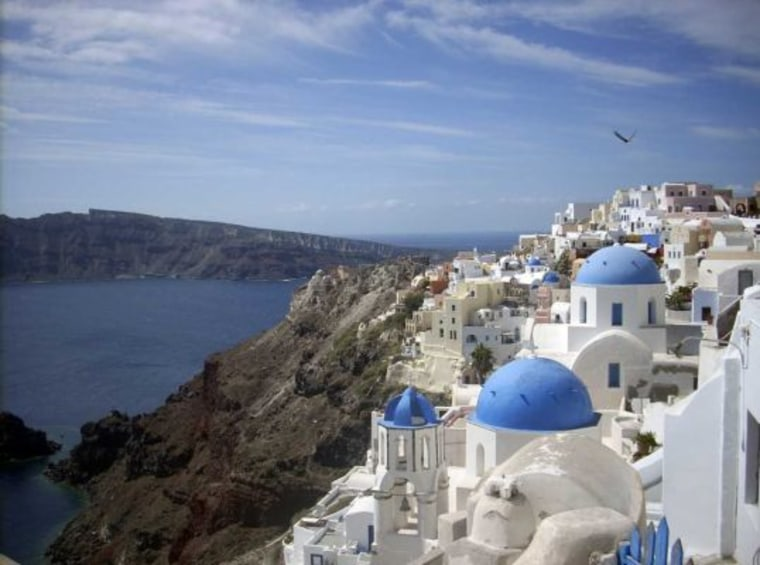 The village of Oia on the island ofSantorini, Greece, where scientists are keeping a watchful eye on a volcanic caldera that is expanding. But an eruption is not imminent.