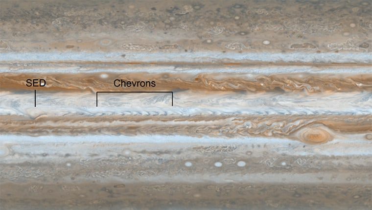 This view from NASA's Cassini spacecraft shows the path of one of Jupiter's jet streams, a line of V-shaped chevrons that travels west to east just above Jupiter's Great Red Spot. Most of the planet is unfolded here in a single, flat map made on Dec. 11 and 12, 2000, when NASA's Cassini spacecraft flew past Jupiter, and was released March 13, 2012.