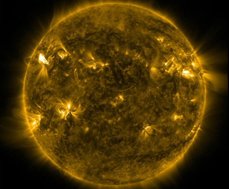 This image, captured during the first week of March, shows the sun in the midst of a flurry of furious eruptions.