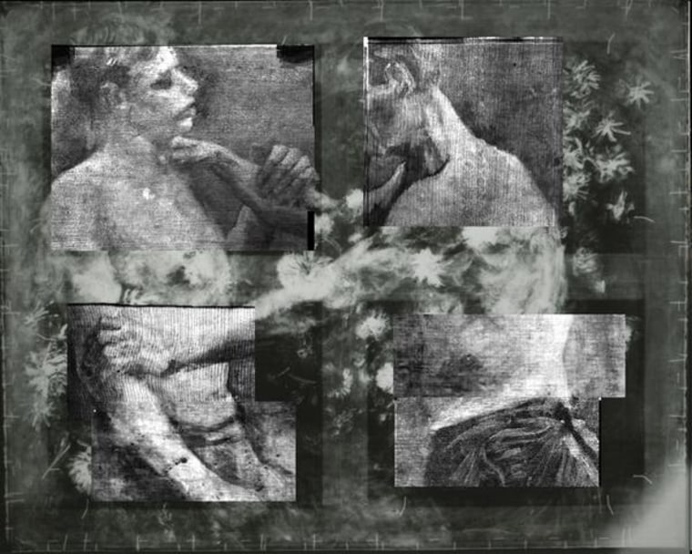 Composite of X-ray of selected areas of the painting, showing theimageof two half-naked wrestlers under the flowers. The image indicates that the painting was originally made by van Gogh at art school in Antwerp.