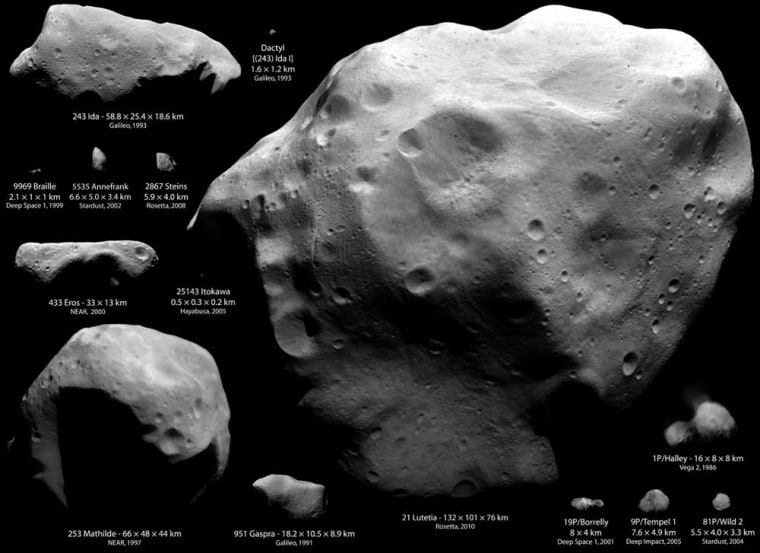 This montage ofimagesfrom several different observations and missions shows asteroids and comets visited by spacecraft from Earth.