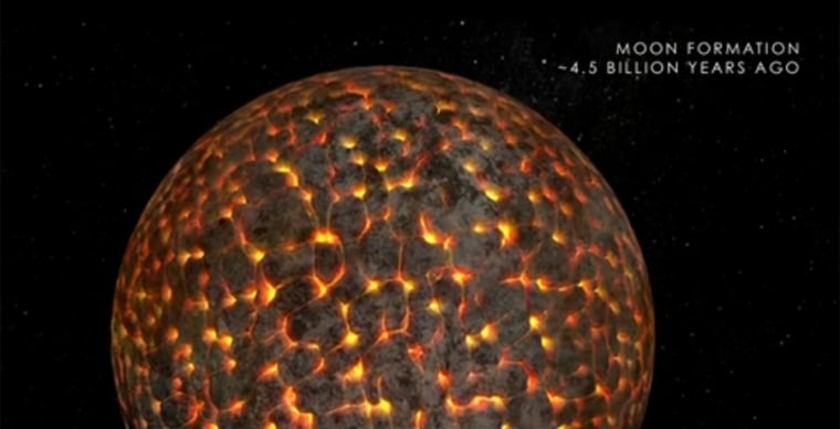 An illustration of the still-molten moon just after its formation 4.5 billion years ago.