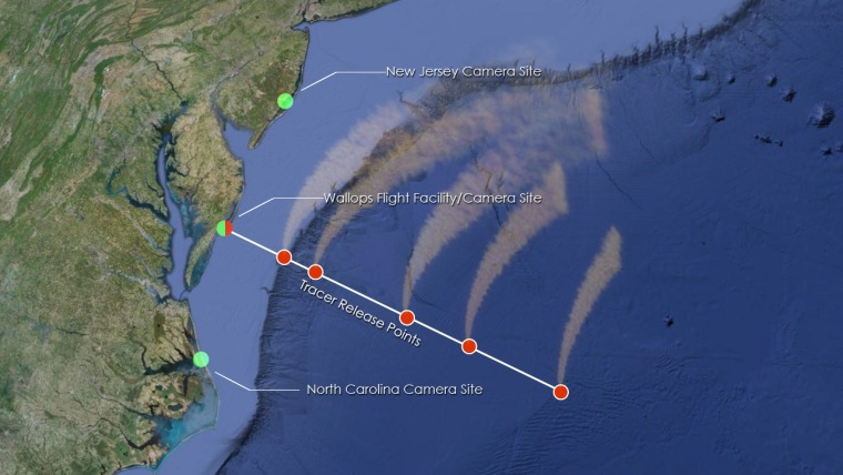 The red dots over the water show where the five rockets of NASA's ATREX mission will deploy chemical tracers to watch how super-fast winds move some 60 miles up in the atmosphere. Three cameras at different sites will track the cloudtracers.